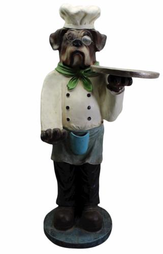 "Vintage Bulldog Dog Chef Butler Statue Glasses Holding Platter Serving Tray 33"""