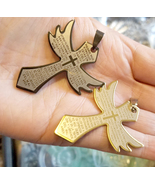 metal stainless steel cross pendants charms angel wings lords prayer spa... - $5.99