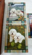 Danbury Mint Bichon Frise Puppy Dog Stained Glass Clock Michele Amatrula Season image 3