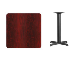 Offex 30'' Square Mahogany Laminate Table Top with 22'' x 22'' Table Hei... - $131.45