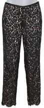 Michael Kors Collection Black Lace Pant Floral Straight Leg Zipper Sz 4 - $475.48