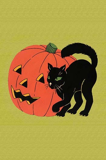 Primary image for Black Cat with Jack-O-Lantern - Art Print