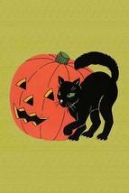 Black Cat with Jack-O-Lantern - Art Print - $19.99+