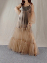 High Waistline Maxi Dress Gown Long Sleeve Loose Holiday Dress Gowns Plus Size image 3