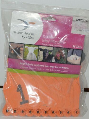 Destron Fearing DuFlex Visual Livestock Id Panel Tags Orange XL 25 Sets 1-25