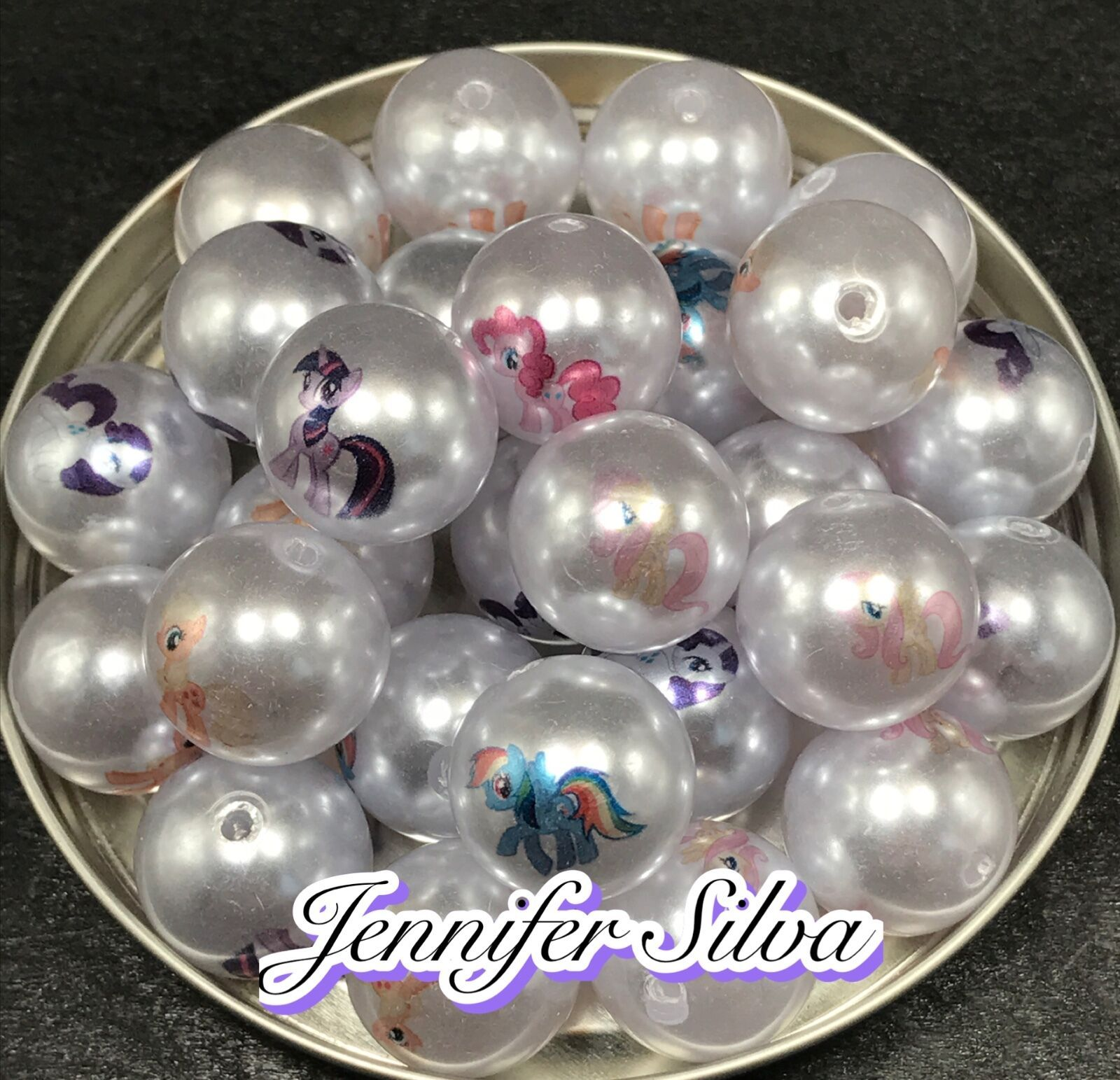 MIXED My Little Pony Friendship Is Magic Printed Chunky Bubblegum Beads 20mm