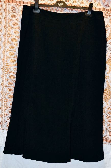 Size 16P Petite Long Suede Like Feeling Black Skirt by JM Collection Rox172