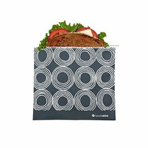 Lunchskins Z-MED-CIRCLES-CHA Reusable Zippered Sandwhich Food Bag, Sandwich, Cha