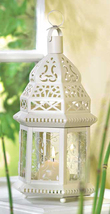 White metal clear glass moroccan hexagonal hurricane candle holder lante... - $17.00