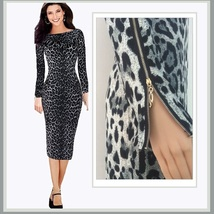 Long Gray Leopard Print Maxi Sheath with Long Zippered Sleeves To Top Shoulders