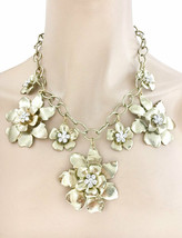 Golden Statement Flowers Necklace Earrings Rhinestones Drag Queen Casual Chic - $21.33