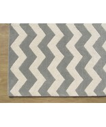 Hand Tufted Chevron Zig Zag Porcelain Blue 3' x... - $135.15