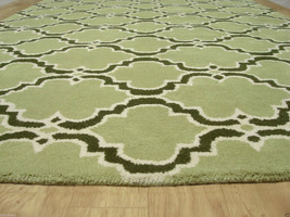 French Accent Scroll Tile Green 8 X10 Handmade Persianstyle Wool Area Rug - $489.00