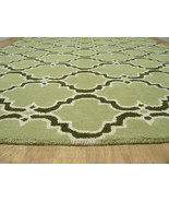FRENCH ACCENT SCROLL TILE GREEN 8X10 HANDMADE PERSIANSTYLE WOOL AREA RUG - $489.00