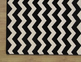 Large Hand tufted Chevron Black and White 9' x 12' Transitional Woolen Area Rug - $729.00