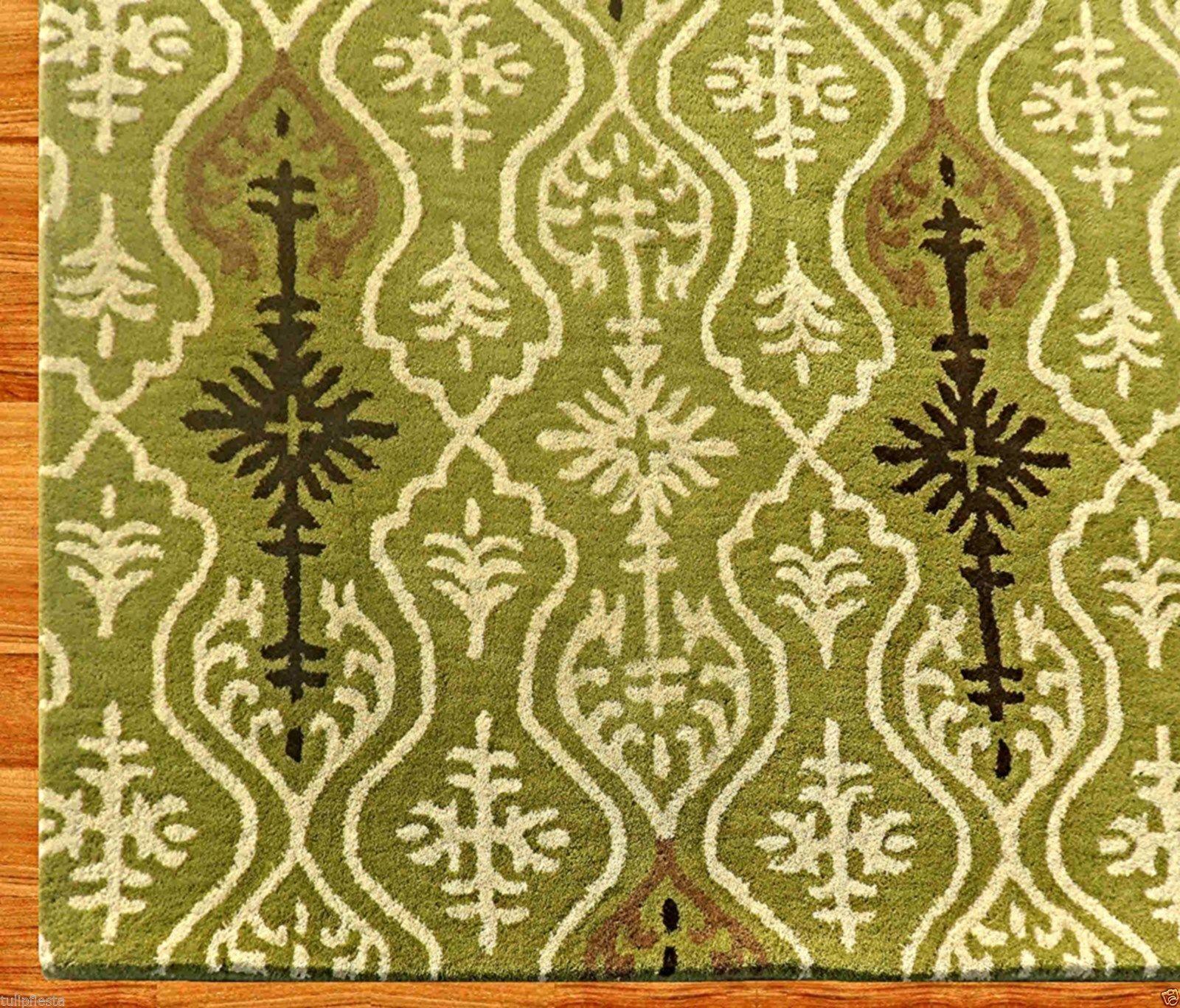IKAT LINKS GREEN 8' x 10' HANDMADE PERSIAN STYLE 100% WOOL AREA RUG - $489.00