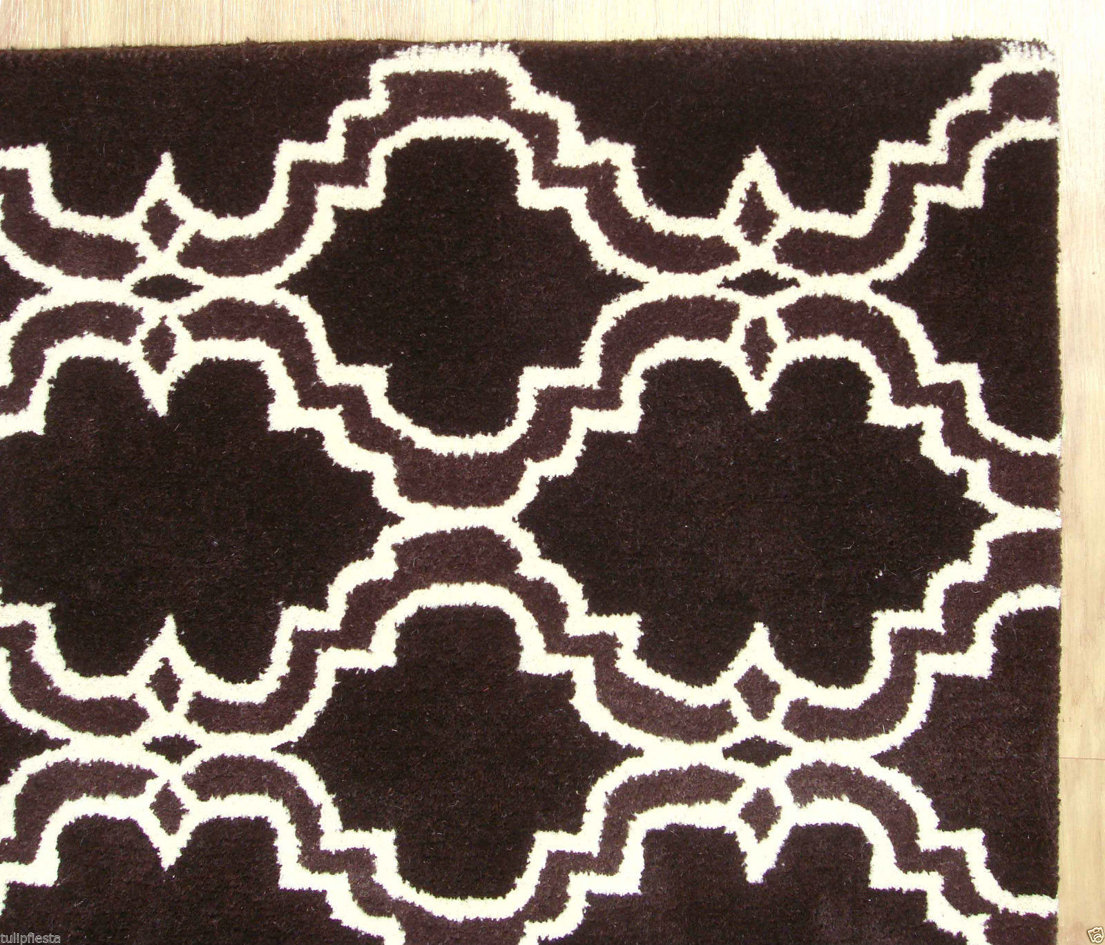 FRENCH ACCENT SCROLL TILE BROWN 8X10 HANDMADE PERSIANSTYLE WOOL AREA RUG