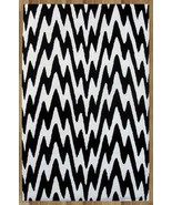 ZIG ZAG BLACK AND WHITE 5X8 HANDMADE PERSIAN ST... - $299.00