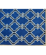 FRENCH ACCENT SCROLL TILE INDIGO 5X8 HANDMADE P... - $299.00