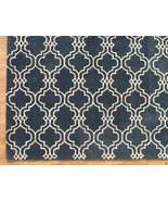 Moroccan Scroll Tile Carbon Blue '3 x 5' Handma... - $135.15