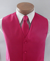 Fuchsia Hot Pink Solid Tuxedo Suit Vest Waistcoat and Necktie Prom Weddi... - $17.80+