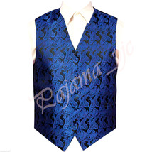 Royal Blue Paisley Tuxedo Suit Dress Vest Waistcoat Formal Party Prom We... - $19.78+