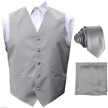 Silver Solid Tuxedo Suit Vest Waistcoat and Neck tie Hanky Set Prom Wedding - £14.04 GBP