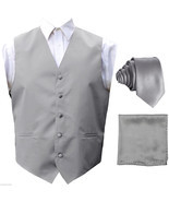 Silver Solid Tuxedo Suit Vest Waistcoat and Neck tie Hanky Set Prom Wedding - £14.22 GBP
