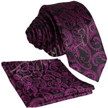 "NEW MEN'S PAISLEY 2.5"" SKINNY SLIM NECK TIE & Pocket Square Hanky Set We... - $9.99"