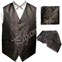 BROWN XS to 6XL Paisley Tuxedo Suit Dress Vest Waistcoat & Neck tie Hanky - $22.75+