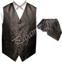 BROWN XS to 6XL Paisley Tuxedo Suit Dress Vest Waistcoat & Neck tie Wedding - $21.76+