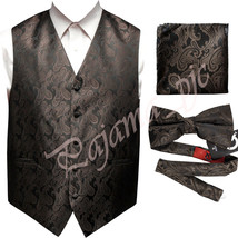 BROWN  XS to 6XL Paisley Tuxedo Suit Dress Vest Waistcoat & Bow tie Hanky - $23.74+