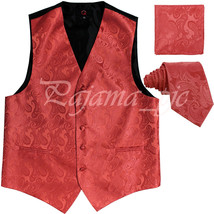Coral XS to 6XL Paisley Tuxedo Suit Dress Vest Waistcoat & Neck tie Hanky - $22.75+