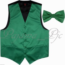 Emerald Green Solid Tuxedo Suit Vest Waistcoat and Butterfly Bowtie Wedd... - $21.76+