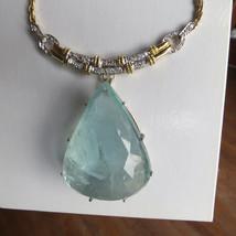 Gigantic Huge 210 ct aquamarine 2 ct diamond 18k 2-tone gold necklace ch... - $55,999.99