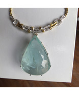 Gigantic Huge 210 ct aquamarine 2 ct diamond 18k 2-tone gold necklace ch... - $55,999.99