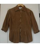 Ninety brown  Corduroy Button Down Shirt Top sz.M - $5.99