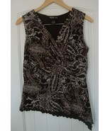 STYLE & CO brown Lined Cross over V-Neck Tappered Side Sleeveless Top Sz.S - $4.99