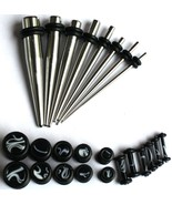 24pc Black Marble Ear Stretching Kit 8 Steel Tapers +16 PLUGS 0G-14G gauges - $22.80