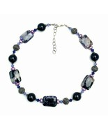 Vintage Etched Silver Black Purple Polished Marbled Stone Necklace - €19,36 EUR