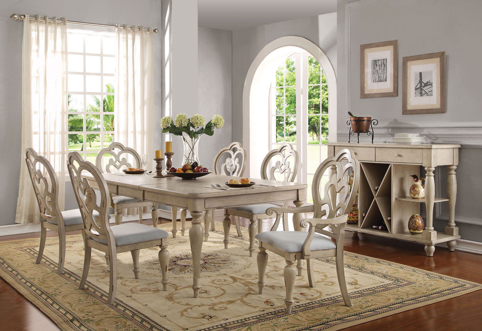 Old World Style Antique White 7pcs Dining Room Furniture
