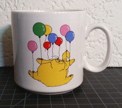 Russ Berrie Vintage Fat Cat Coffee Mug Cup Flying with Balloon - $14.98