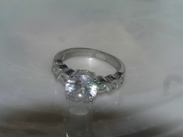 Estate 925 Marked Silver with Clear Rhinestone Paste Flanked with Tiny A... - $9.49
