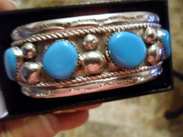NAVAJO SIX STONE NATURAL SLEEPING BEAUTY TURQUOISE STERLING SILVER CUFF ... - $575.00