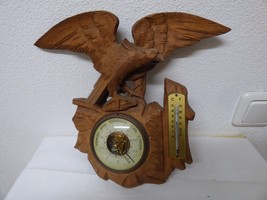 Antique German Black Forest barometer thermometer wood carved Eagle mid ... - $300.00