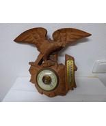 Antique German Black Forest barometer thermometer wood carved Eagle mid ... - $300.00
