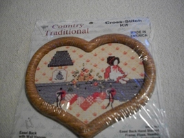 Country Traditional Cross Stitch Kit: Comes with Frame, Fabric, Floss & ... - $5.00