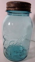 Blue canning jar 1930s ball perfect mason quart 01 thumb200