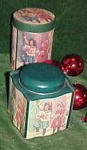 (2) VICTORIAN GIRL CHRISTMAS candy cookie CANISTER TINS - $9.99