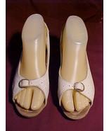 CREAM BEIGE OPEN TOE SLING BACK leather VIVOLI wedge sandals shoes-VINTA... - $49.99